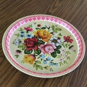 Vintage Floral Tray, Aluminum Floral Serving Tray, Vintage Tray with English Roses, The Metal Tray Company, MTM Tray