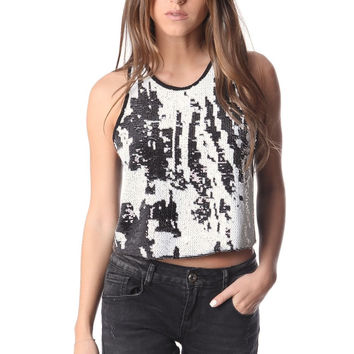 Q2 Crop Top With Sequin Embellished Design On The Front