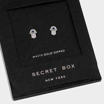 White Gold Dipped Crystal Hamsa Hand Stud Earrings With Secret Box