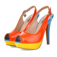 New Arrival Korea Colorful High Heel Sandals Orange, Buy New Arrival Korea Colorful High Heel Sandals Orange with cheapest price|wholesale-dress.net