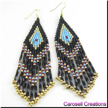 Native American Style Beadwork Fringe Seed Bead Earrings in Turquoise, Black, Gold and Brick Red