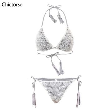 Chictorso Crochet Bikini Set Women Sexy Low Waist Bathing Suit Simple Sequins Beach Brazilian Swimsuit Halter Bandage Swimwear