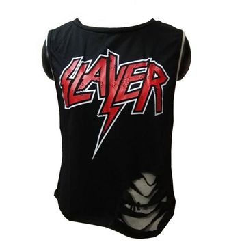 Retro Slayer Heavy Metal Sleeveless Ripped T-Shirt