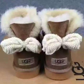 UGG Fashion Winter Women Bowknot Flat Warm Snow Ankle Boots Brown G-1