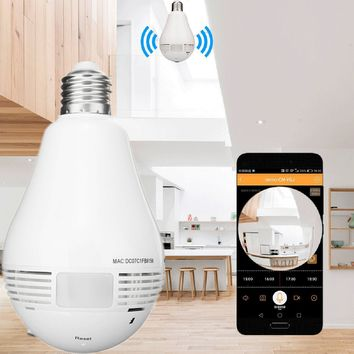 Bulb Light Wireless IP Camera FishEye 960P 360 degree Mini Camera.