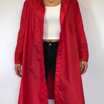 Vintage Red Raincoat / Windbreaker Long -free shipping