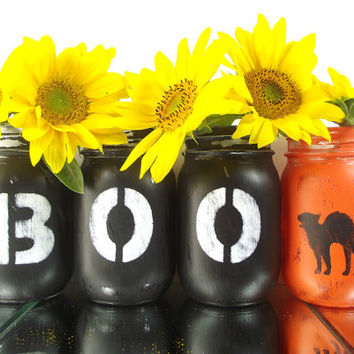 Halloween Decor -- Mason Jar Vase Set -- Rustic, Hand Painted Jars -- Table Centerpiece