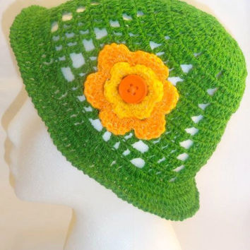 Sun Crochet Hat ,  Green Spring Flower
