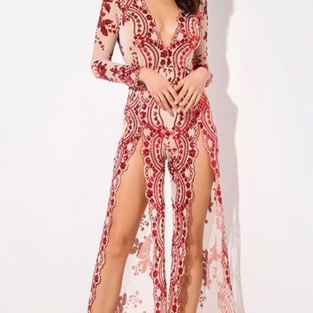Come Closer Red Sequin Floral Pattern Sheer Mesh Long Sleeve Plunge V Neck Wide Leg Loose Double Slit Jumpsuit