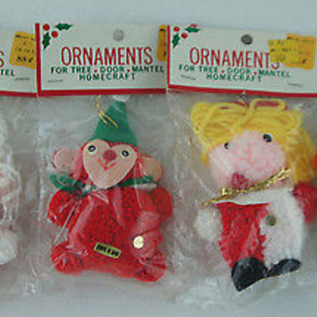 "Retro Felt Christmas Ornaments ""Mrs. Claus Snowman Clown & Monkey"" Kmart"