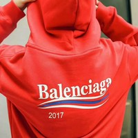 Balenciaga Print Women's Long Sleeve Hoodies Sweater G-A-KSFZ