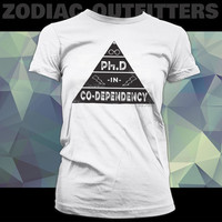Picses / Zodiac / Astrology  / Dark Side / White Ladies Graphic Tee Shirt