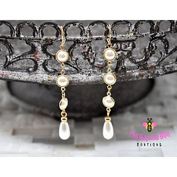Triple Pearl Pearl Drop Earrings