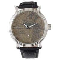 Vintage World Map Abstract Design Wrist Watch
