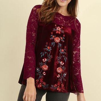 Umgee Lace velvet embroidered floral top- PLUS & Regular size