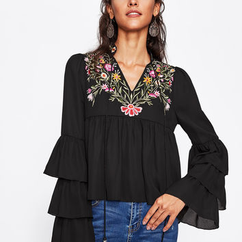 Embroidery Tiered Flute Sleeve Smock Blouse -SheIn(Sheinside)
