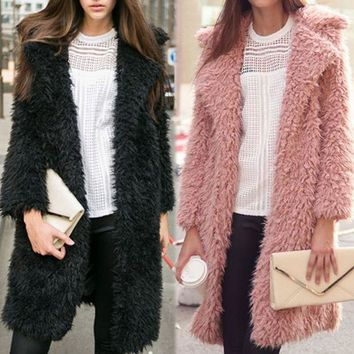 LMFCY2 Wool nine points in the sleeve lapel long furry coat fur cardigan