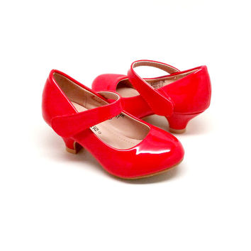 Girl's Shiny Red Heels with Hook and Loop Closure