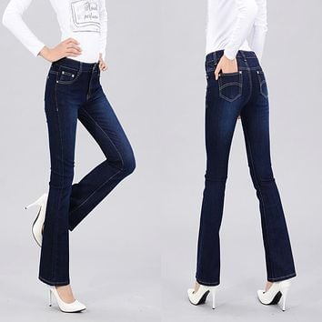 Autumn High Waist Flare Jeans Pants Plus Size Stretch Skinny Jeans Women Wide Leg Slim Hip Denim Boot Cuts