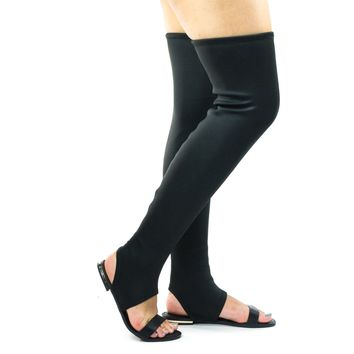 Cure10M Black By Blossom, Open Toe Flat Sandal w Elastic Over Knee Boots Shaft & Metal Plate