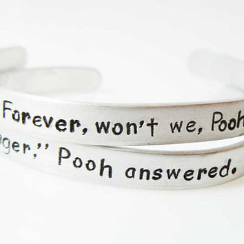 bracelet, Winnie the Pooh, Set of 2 Personalized Bracelets, Best Friend, Gift for Friend, BFF, Friendship Gift, Couples, Sisters