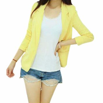 ONETOW Korean WomenThree Quarter Sleeve Slim Suit Blazer Coat Lapel Shrug Outerwear Quality