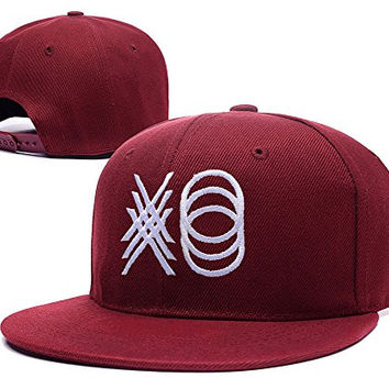 YUDUODUO Xo The Weeknd Logo Adjustable Snapback Embroidery Caps Hats - Red
