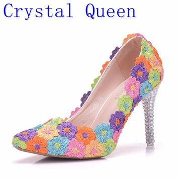 Crystal Queen Colorful Lace Flower Wedding Shoes Multicolor High Heel Banquet Pumps Handmade Cinderella Prom Party Woman Shoes