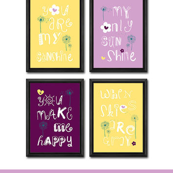you are my sunshine nursery decor with dandelion baby nursery quotes baby girl nursery decor you are my sunshine baby decor girl nursery