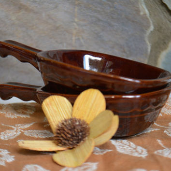 Rare Marcrest Brownware Bowls,  2 RARE Vintage MarCrest Pottery Daisy Dot  Square Bowls, Vintage Brown Pottery Bowls,  Brown Ware Dishes