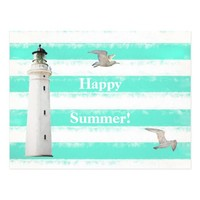 Turquoise white nautical rustic stripes lighthouse postcard