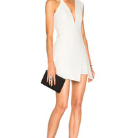 Michelle Mason Asymmetrical Plunge Mini Dress in Ivory | FWRD