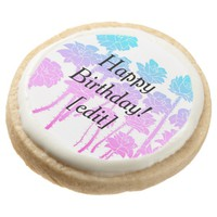 Gradient Roses - Floral Happy Birthday Cookies Round Premium Shortbread Cookie