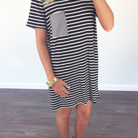 Gone Sailing Black Stripe Pocket Dress