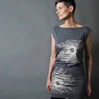 Silver Feather Party Dress, Grey Tshirt Dress - Metallic Silver Peacock Feather Print - Party Fashion