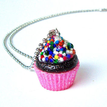 Chocolate cupcake necklace, pink cupcake pendant, cupcake jewelry, cupcake charm, candy jewelry, bakers gift, kawaii pendant