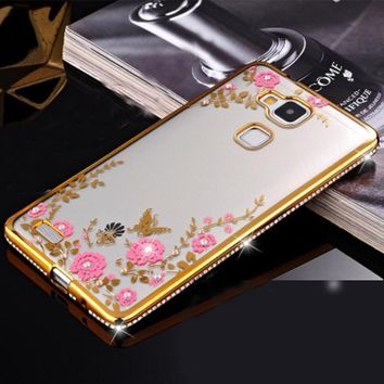 Hot sales Secret Garden Diamond Case for Huawei Mate 7 Luxury Flower Bling Soft TPU Clear Back Cover wholesale