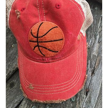 Game Day Vintage Distressed Trucker Cap with Basketball Patch.   12 Color Choices