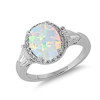 925 Sterling Silver 12mm White Lap Opal CZ Cubic Zirconia Engagement Ring For Women - Ring Size: 5