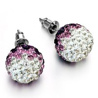 Shamballa Disc Ball Earrings with Pave Clear or Purple Crystal Post Stud Earrings for Pierced Ears 12mm