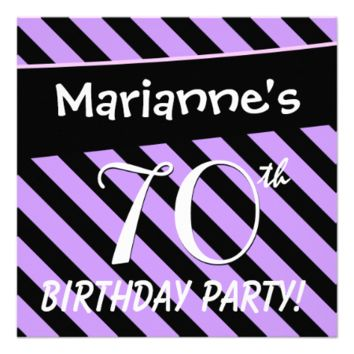 70th Birthday Purple and Black Stripes D419 Personalized Invitation
