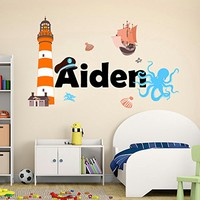Nautical Animal Colorful Personalized Name Sea Ocean Wall Decal Full Color Mural for Nursery Boys Name Vinyl Sticker SD15