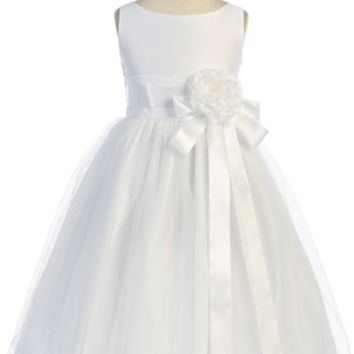 Adorable Satin And Tulle Flower Girl Dress