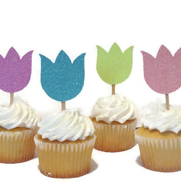 Tulip cupcake toppers, Mothers Day decorations, 12 pieces, ready in 3-5 business days, spring bridal shower