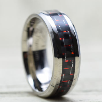 8mm Red Black Carbon Fiber Inlay Tungsten Ring Comfort Fit Wedding Band