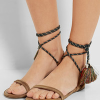 Isabel Marant - Astrid tasseled leather-trimmed suede sandals