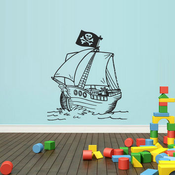 rvz1652 Wall Vinyl Sticker Bedroom Decal Decal Pirate Flibuster Flag Skull (
