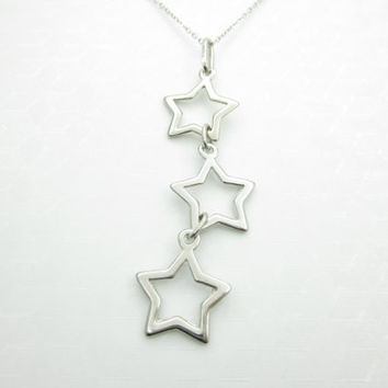 Shooting Stars Necklace, Star Charm Necklace, Silver Stars, Celestial Themed Necklace, Open Style Star Charms X050