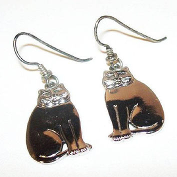 "Laurel Burch Cat Earrings Silver Metal French Wire Hooks Pierced Ears 1 5/8"" Vintage"
