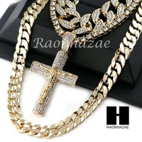 """14K GOLD PT Lil JESUS CROSS ICED OUT MIAMI CUBAN 16""""~30"""" CHOKER TENNIS CHAIN S18"""